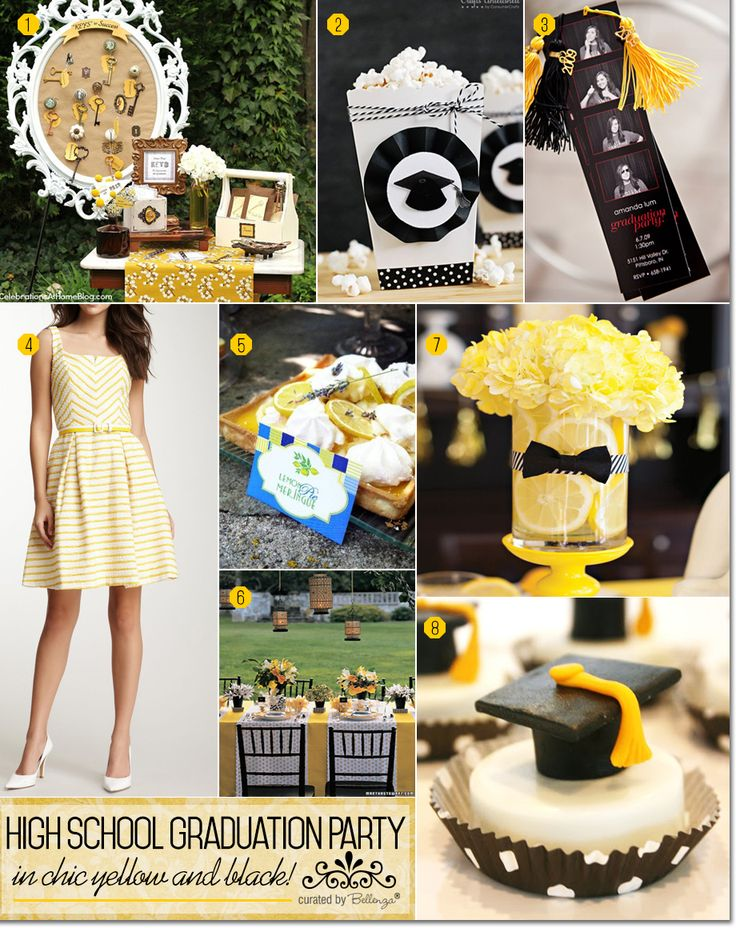 A high school graduation party in chic yellow and black with inspiration from table decor to favors to a gorgeous dress for the guest of honor | Bellenza Party Suite  #graduationparty #graduationpartyideas
