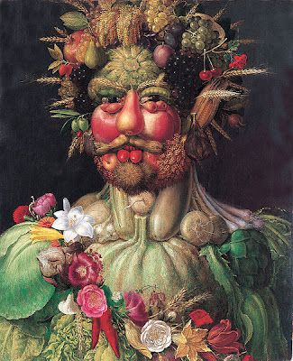 Arcimboldo  //   Arcimboldo is known as a 16th-century Mannerist. A transitional period from 1520 to 1590, Mannerism adopted some artistic elements from the High Renaissance and influenced other elements in the Baroque period. Arcimboldo also tried to show his appreciation of nature through his portraits.