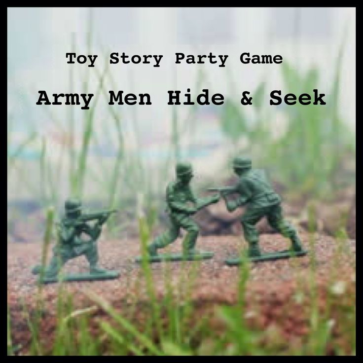 Toy Story Party Game: Army Men Hide & Seek. Hide plastic army men outside in the grass, bushes, perched on rocks, even dangling from trees. Set your partygoers loose to see who can find the most!