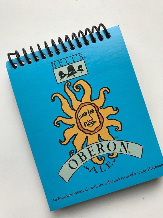 Oberon BEER spiral journal notebook Recycled Made from a 6