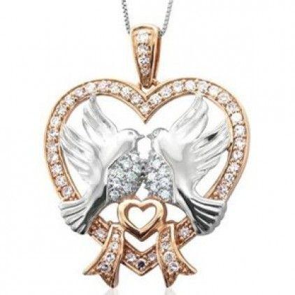 #Sweet #Love #Birds #Heart #Diamond Heart #Sterling #Silver #Pendant #gold