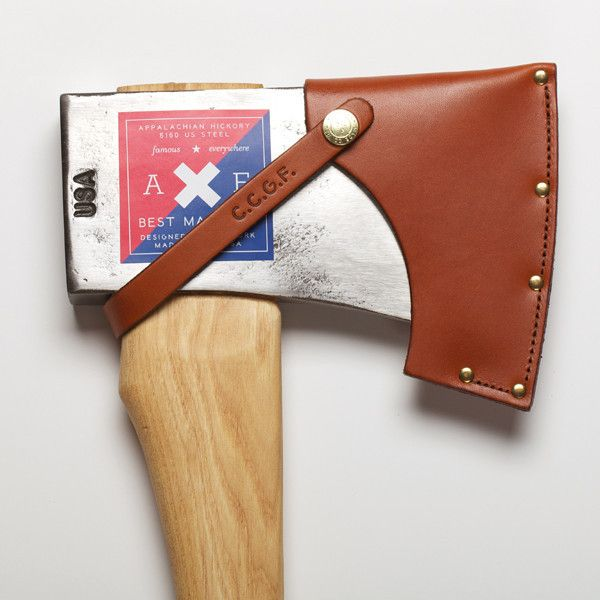 Best Made Company — American Felling Axe. The Dayton pattern head is made from high carbon American steel and is drop forged in North Carolina by fourth-generation axe makers. The Best Made helve is lathed from Appalachian hickory and its elegant curvature and slender form factor ensure superior efficiency and safety. Every Best Made axe comes numbered with our documentation and guarantee, and a fitted, top-grain leather blade guard. #Tool #Timeless #Steel #Wood #Leather
