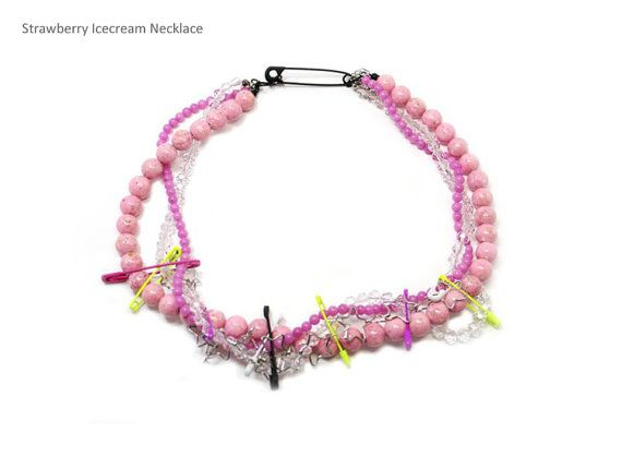 Strawberry Icecream necklace by Myfunny on Etsy, $50.11