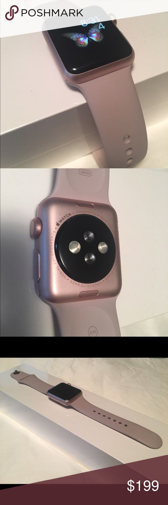Apple Watch series 2 - rose gold Series 1 Apple Watch for sale!  I have all the original packaging:  band supplement, charger and manuals.  Very small scratch on upper edge, not visible (tried to capture image on last pic).  Top face is in perfect condition. apple Accessories Watches