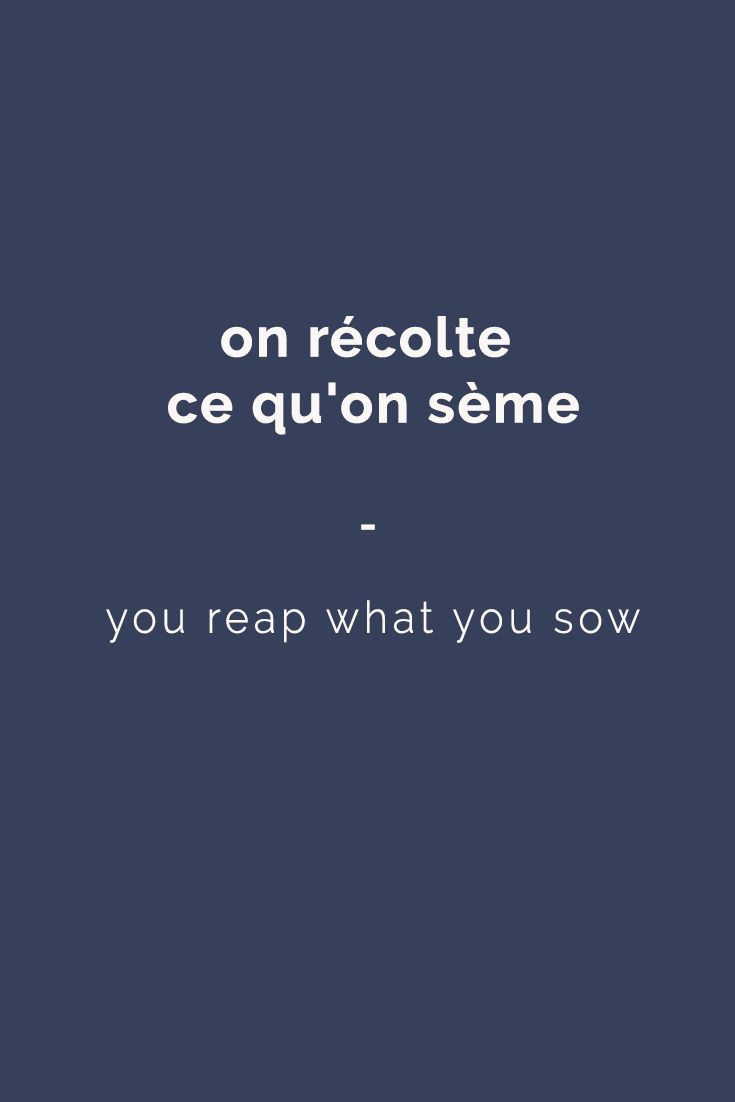 on récolte ce qu'on sème - you reap what you sow | For more French expressions you can learn daily, get a copy of this e-book from Talk in French: https://store.talkinfrench.com/product/french-expressions/