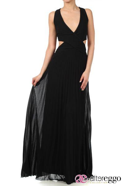 #Vestido #graduaciones #verano #2014 #negro #black #party #fiesta #noche #largo #maxidress #dress #nigth #escote #espalda #chiffon #V