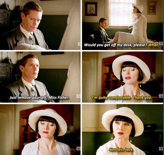 Miss Fisher's Murder Mysteries...I wish this showed the spider on his desk...that's why she moves!