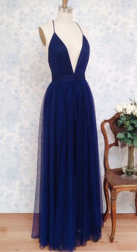Plunging Neck Navy Blue Prom Dress