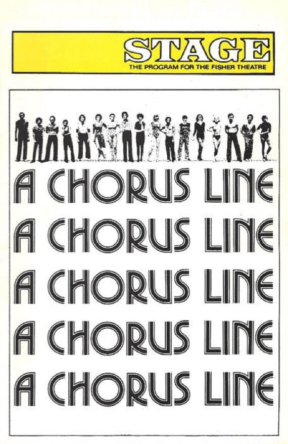 """Detroit, MI premiere of """"A Chorus Line"""" at the Fisher Theatre, which is located at 3301 W. Grand Boulevard ... Second National Tour ... March 1 - April 16, 1977 ...  Scenic Design by Robin Wagner ... Co-Choreographed by Bob Avian ... Music by Marvin Hamlisch ... Lyrics by Edward Kleban ... Conceived, Choreographed, and Directed by Michael Bennett."""