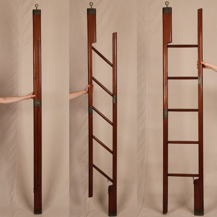 Fine English Regency Antique Mahogany & Brass Folding Nautical or Library Ladder-idea