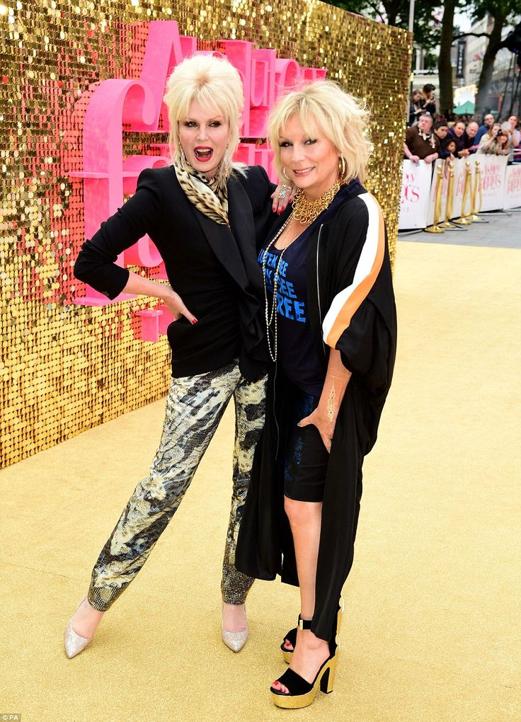 Looking fierce! Joanna Lumley (left) and Jennifer Saunders (right) looked amazing at the world premiere of Absolutely Fabulous: The Movie in London's Leicester Square on Wednesday