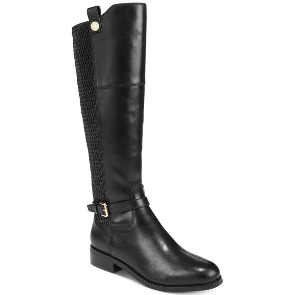 Cole Haan Galina Riding Boots ($300) ❤ liked on Polyvore featuring shoes, boots, black leather, black leather boots, leather riding boots, leather knee high boots, stretch knee high boots and stretch riding boots