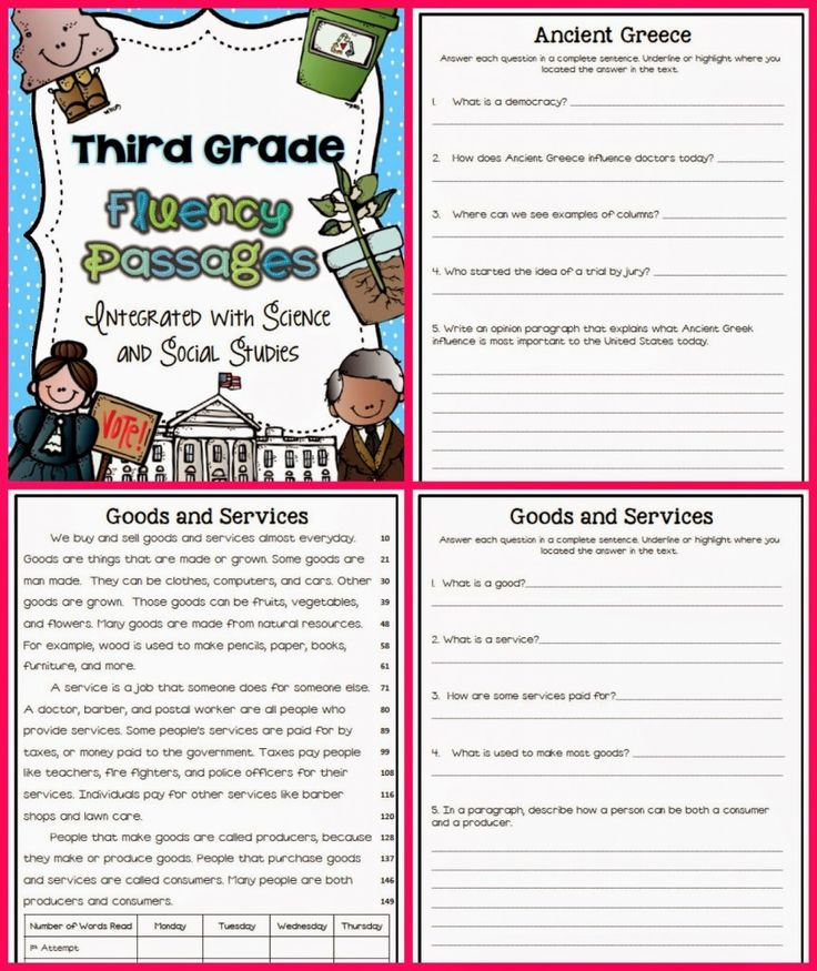Fluency Passages- I've written a set of text dependent comprehension questions for each social studies and science passage.