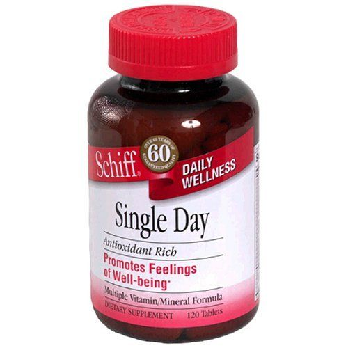 Schiff Single Day Multiple Vitamin/Mineral Formula, 120 Tablets by Schiff. $16.78. Promotes feelings of well-being. Single Day, one per day multi formula, contains folic acid, vitamin B-12 and vitamin B-6, which are needed by the body to metabolize homocysteine in the blood stream. (These statements have not been evaluated by the Food and Drug Administration. This product is not intended to diagnose, treat, cure, or prevent any disease.) No added sugar (sucrose, fructose,...