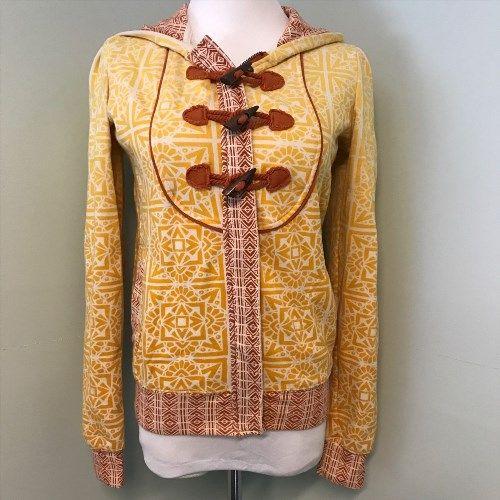 21.28$  Buy now - http://vifcm.justgood.pw/vig/item.php?t=1vl7eqv14379 - Billabong S Small Orange Yellow Geometric Zip Up Womens Hoodie Jacket Bust 36 21.28$