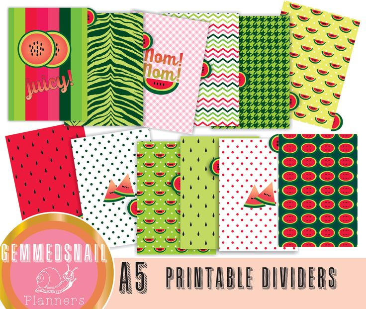 Planner dividers A5, printable planner dividers WATERMELON dividers, with melon tabs (includes top and bottom tabs)