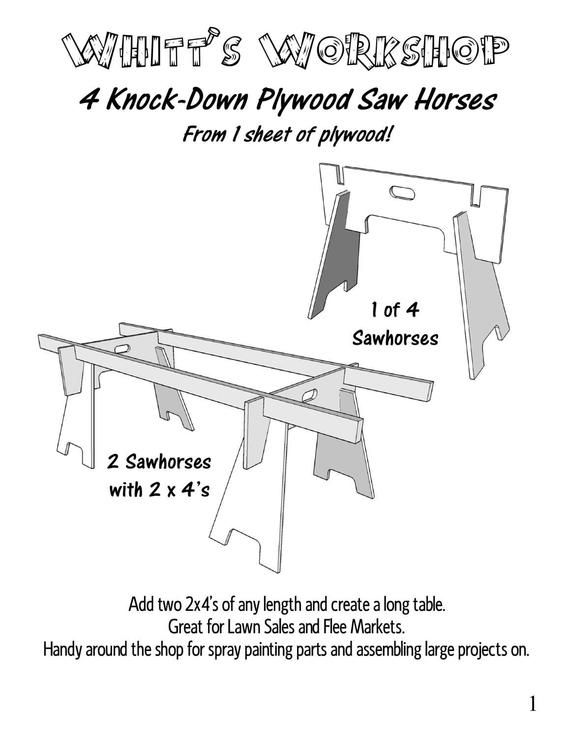 4 Knock Down Plywood Saw Horses From 1 Sheet Of Plywood Etsy Sawhorse Easy Woodworking Projects Plywood Sheets