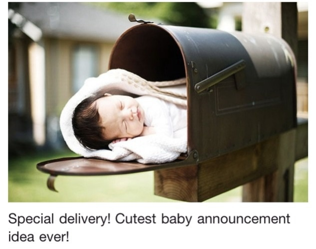 """I am so going to do a maternity timeline for my baby sisters friend.  Show her checking the mail with a growing baby bump and in the last picture the baby in the mailbox with a tag """"Special Delivery""""!  I can't wait to see how it turns out."""