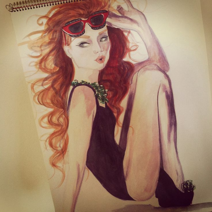 Watercolour pinup