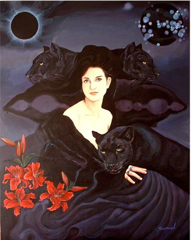 """Black Panther Power Animal Symbol Of Astral Travel Feminine Energy Death And Rebirth - """"very ancient and powerful spirit guide... generally loners, extremely comfortable with themselves and are often drawn to other solitary people... gift of Panther is power of silence... holds secrets of worlds that are unseen and associated with lunar energies... possess acute sensitivity... linked to sexuality."""" (Image By Sami Edelstein)"""
