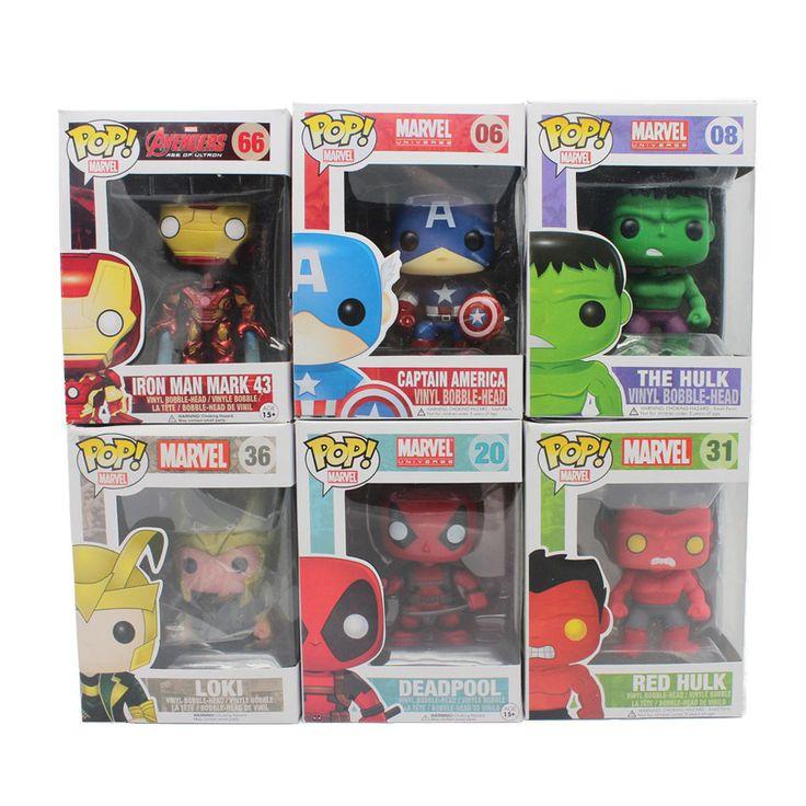 Funko Pop Bobble Szef Rysunek Deadpool Marvel avengers Red Hulk LOKI Captian Ameryka Iron Man Mark 43 Winylu PVC Rysunek Toy