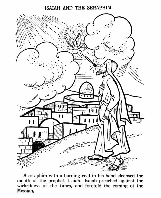 A seraphim (angel) touches Isaiah's mouth with a burning coal. Bible coloring page