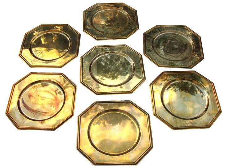 #Vintage Solid #Brass Hexagon Charger #Plates - 6 by AbbyEssie on Etsy
