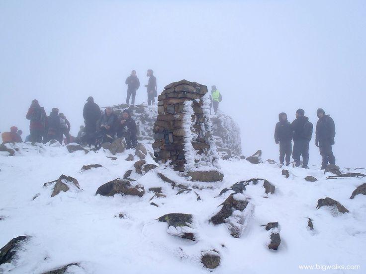A Winter summit scene on Scafell Pike.