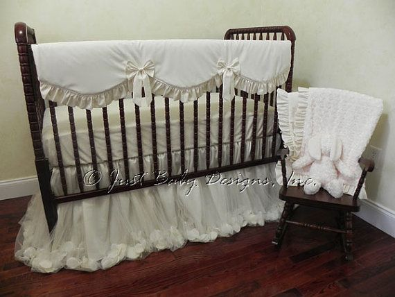 Baby Girl Crib Bedding Set Giselle Ivory  Ivory Baby Bedding