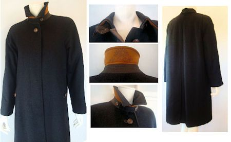 Schneiders Salzburg SARAH Wool/Cashmere Blend Woman`s Coat Style 22591 in Black. SARAH, by SCHNEIDERS SALZBURG: 80% virgin wool, 20% cashmere, black lining, interior zip pocket, loden trim, leather collar flap, leather trim button holes, real horn buttons. Length 42 inches. Austria.