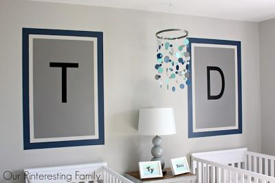 Modern Twins Nursery - This wall art is actually just a painted wall frame - love the look!