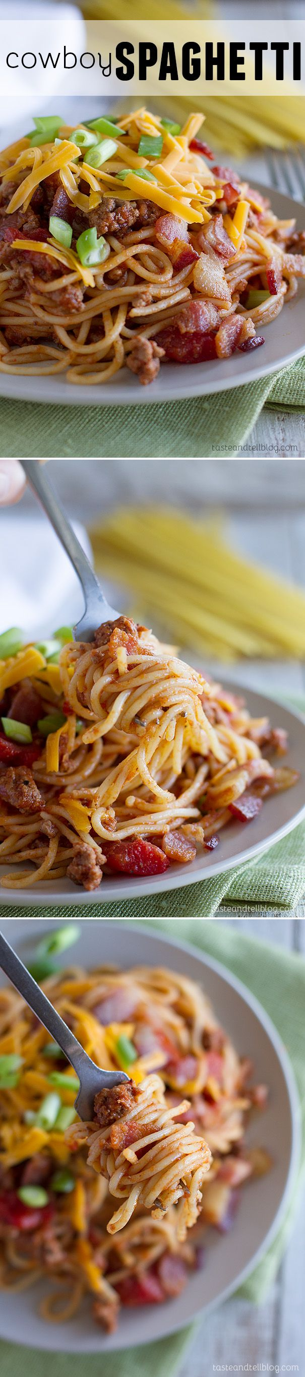 A change up from traditional Italian spaghetti and meat sauce, this Cowboy Spaghetti adds in bacon and cheddar cheese for an American twist on a classic.