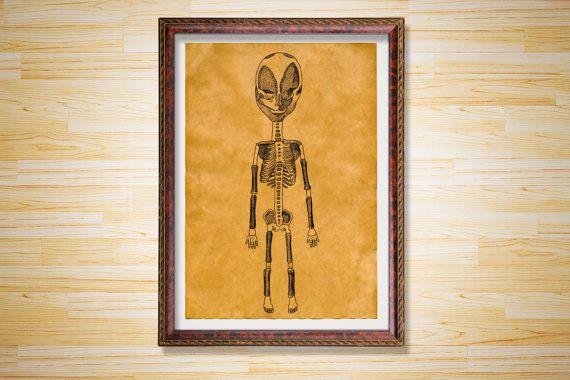 Alien skeleton print Anatomy medical poster by RelentlessCrafts