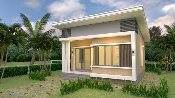 House Plans 7x6 With One Bedroom Gable Roof House Design 3d In 2020 One Bedroom House Plans Small House Design Plans One Bedroom House