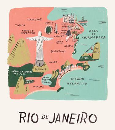Rio De Janeiro illustrated map - Carte illustrée de Rio de Janeiro - Brésil