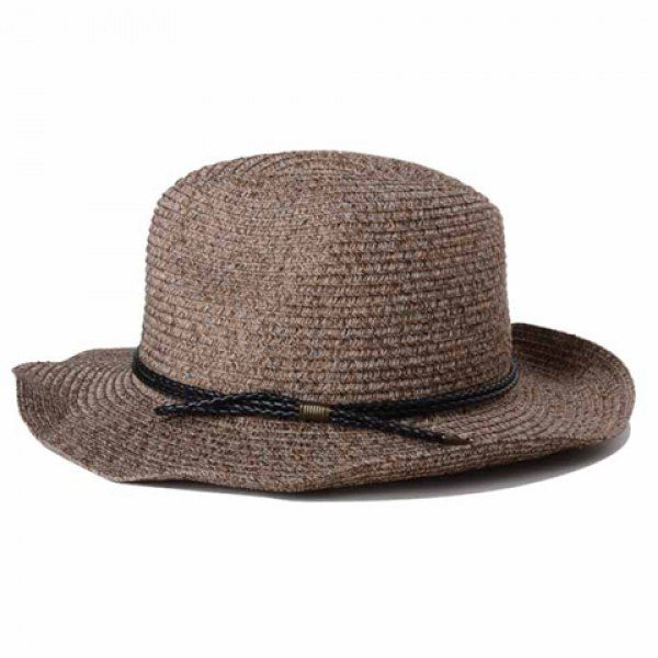 Stylish Double PU Rope Embellished Sun-Resistant Men's Straw Hat #CLICK! #clothing, #shoes, #jewelry, #women, #men