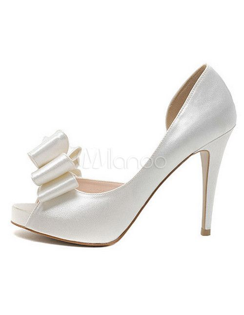 Elegant Cut Out Bow Spike Heel Peep Toe Silk And Satin Bridal Shoes - Milanoo.com