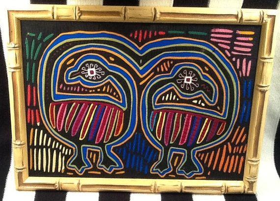 Panamanian Mola, Mola, Mola!  Authentic Kuna design / Textiles / Wall Art / Vintage / Handmade in Panama / 1970s on Etsy, $135.00