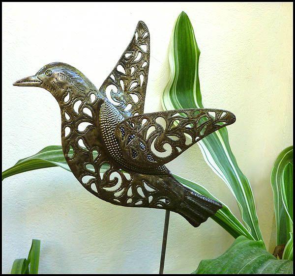 metal plant stake bird outdoor garden decor metal plant marker plant stick - Metallic Garden Decor