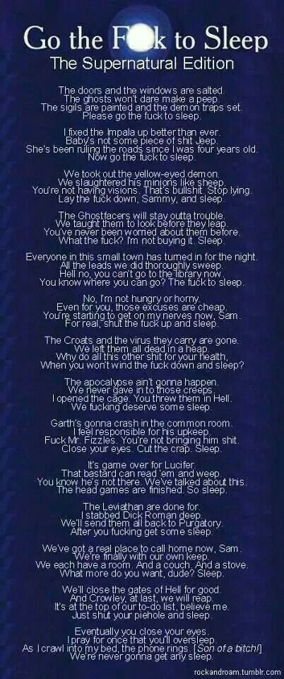 This is the most perfect thing ever created and I read it in Deans voice.