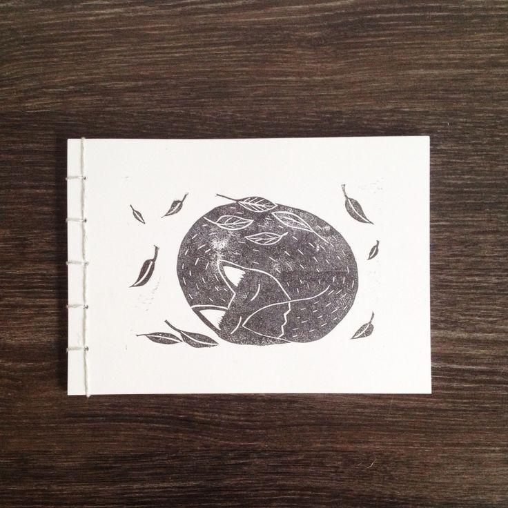 handmade large fox journal hand bound with linen
