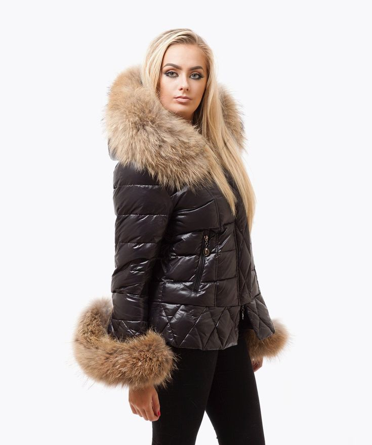 Black Quilted Down Jacket - Natural