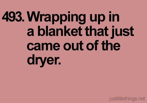 sometimes i intentionally put blankets in the dryer just for this feeling