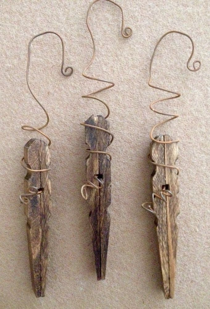 Primitive Christmas Icicle Snowflake Rusty Wire Wood Clothespin Ornament Set/3 #Primitive #Handmade