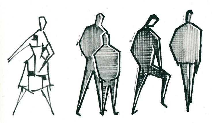 Drawings by Gerd Zimmerschied, from Graphic Design in Architectural Renderings, 1960. @Michael Newhouse