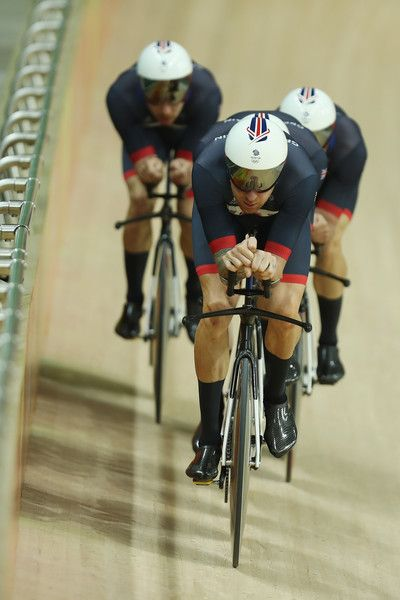 Bradley Wiggins leads the Team GB pursuit team during training Rio Olympic Velodrome 9-8-2016
