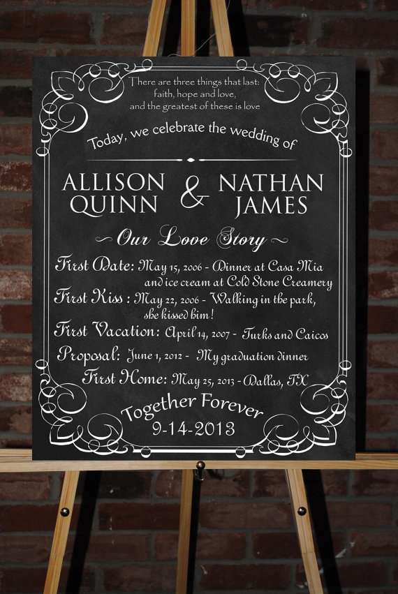Custom Printable Wedding Board Poster by ChalkingItUpBoards, $35.00