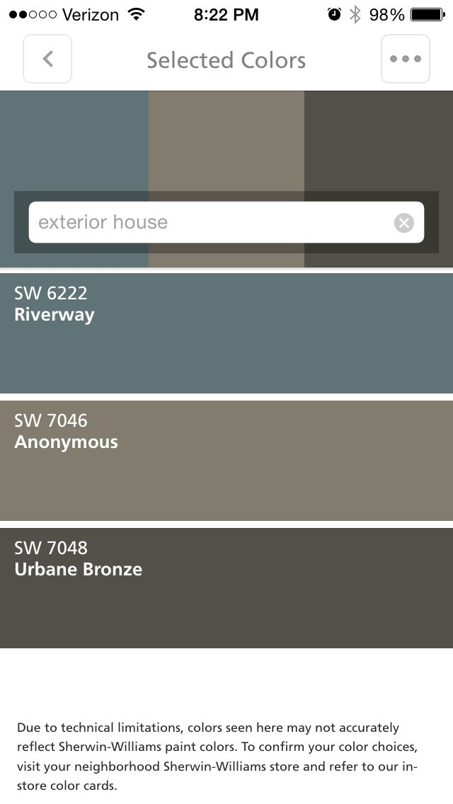 Exterior house colors: Riverway = front door Anonymous = body Urbane Bronze = trim