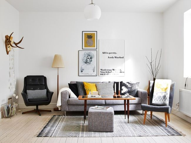 Scandinavian apartment with pops of yellow
