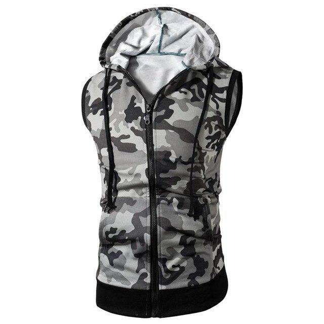 X-Future Mens Zip Up Sleeveless Summer Sports Trainning Hoodie Tank Top Tee